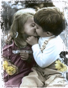 Girl and boy kissing