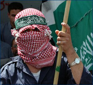 Hamas supporter with Hamas flag