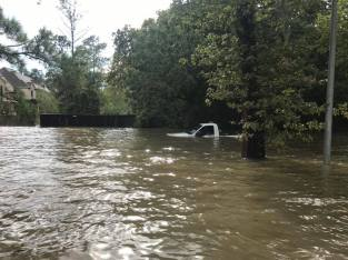 Truck under water in Houston